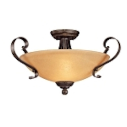 "Brook field Collection 3-Light 20"" Brownstone Semi Flush Mount with Faux Alabaster Glass Shade 14423-BST"