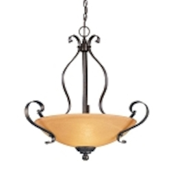 "Brook field Collection 3-Light 25"" Brownstone Pendant with Faux Alabaster Glass Shade 14424-BST"
