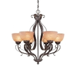 "Brook field Collection 6-Light 29"" Brownstone Chandelier with Faux Alabaster Glass Shade 14426-BST"