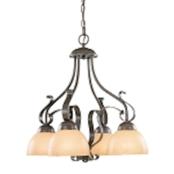 "Brook field Collection 4-Light 24"" Brownstone Down Chandelier with Faux Alabaster Glass Shade 14434-BST"