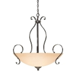"Brook field Collection 5-Light 31"" Brownstone Pendant with Faux Alabaster Glass Shade 14445-BST"