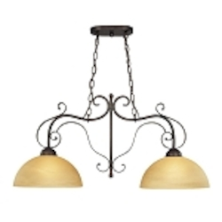 "Brook field Collection 2-Light 37"" Brownstone Island Light with Faux Alabaster Glass Shade 14462-BST"