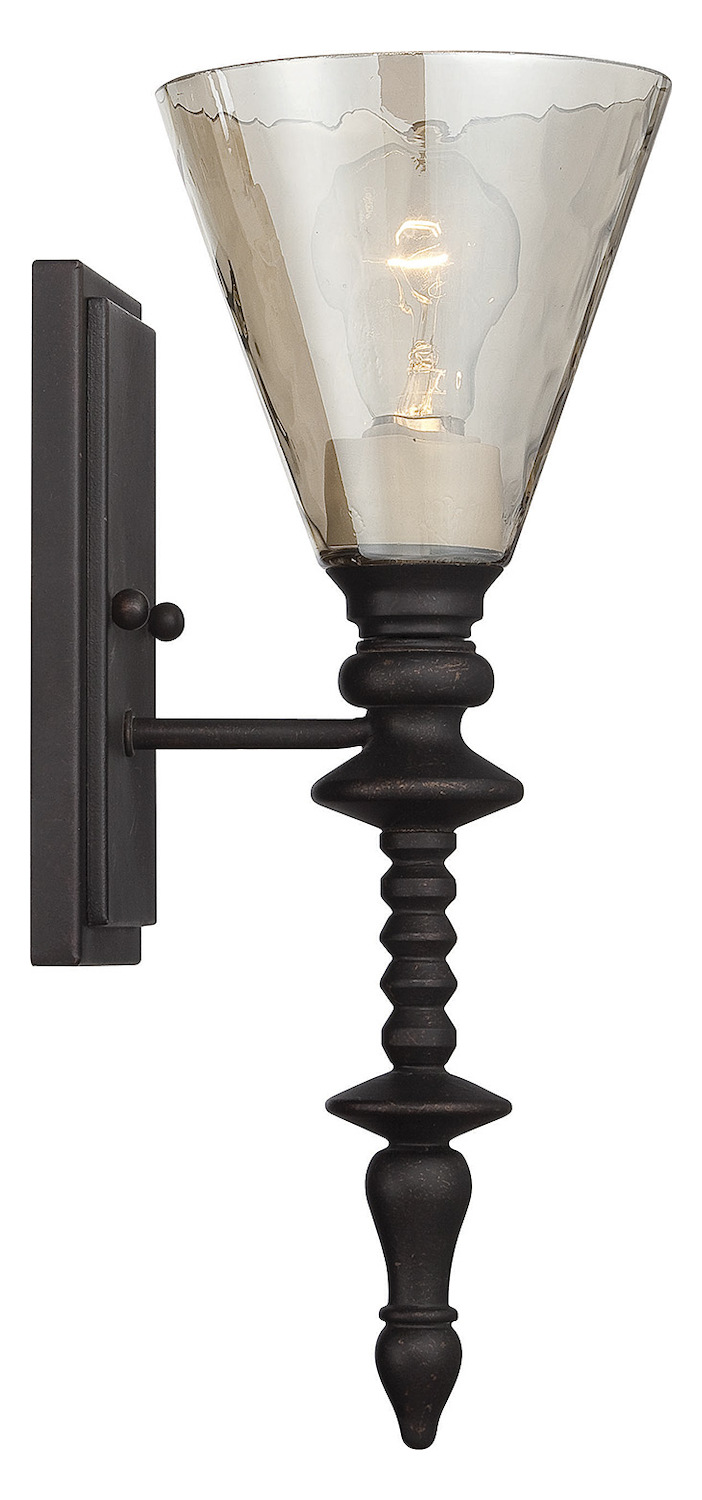 Bronze Glass Wall Lights : Savoy House One Light Oiled Bronze Smoked Water Glass Wall Light Oiled Bronze 9-4903-1-02 From ...