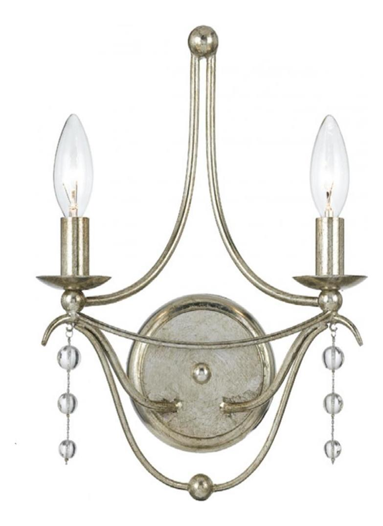 Crystorama Antique Silver / Clear Beads Metro 2 Light ...