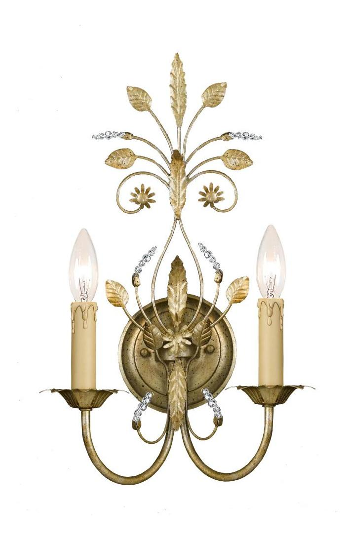 Double Candle Wall Sconces : Crystorama Golf Leaf Primrose 2 Light Candle Style Floral Double Wall Sconce Gold Leaf 4702-GL ...