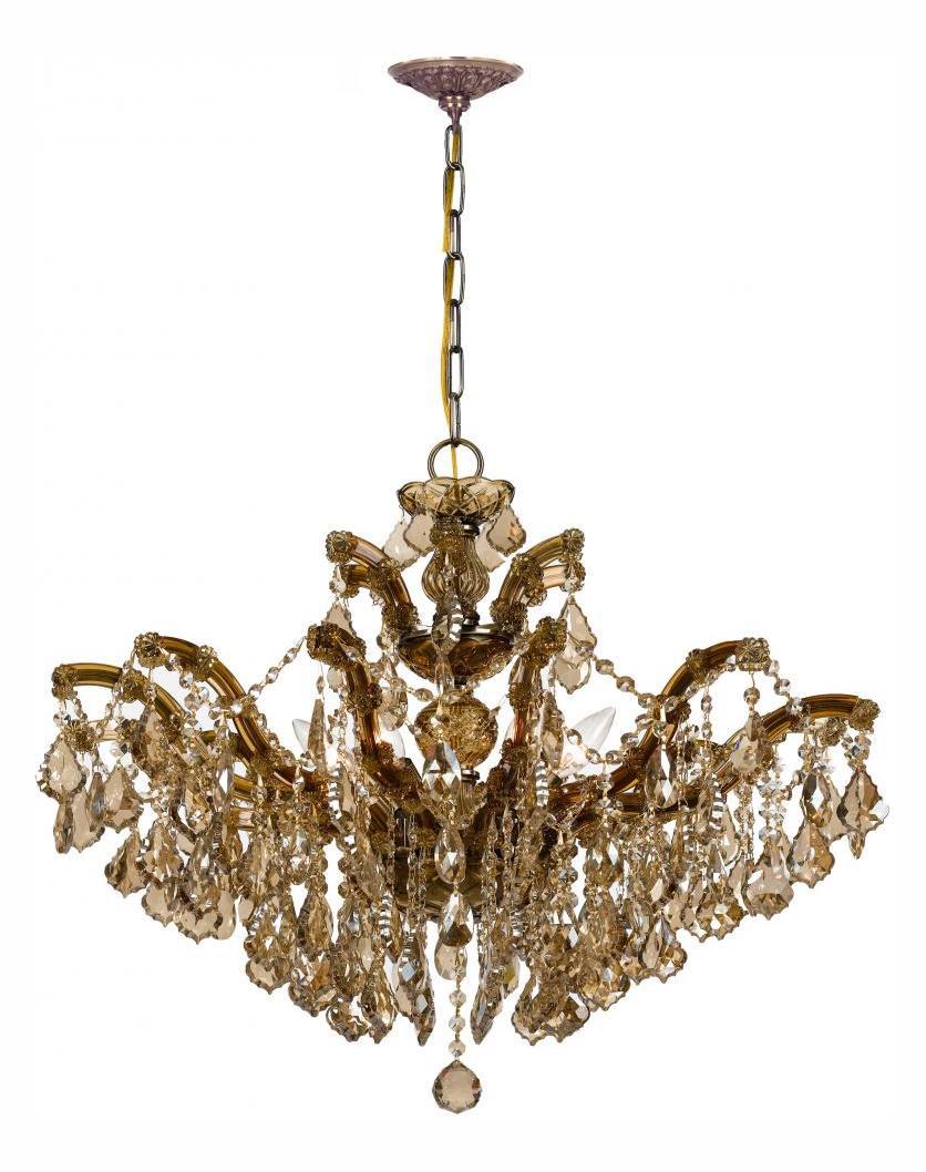 Crystorama Six Light Antique Brass Up Chandelier Antique