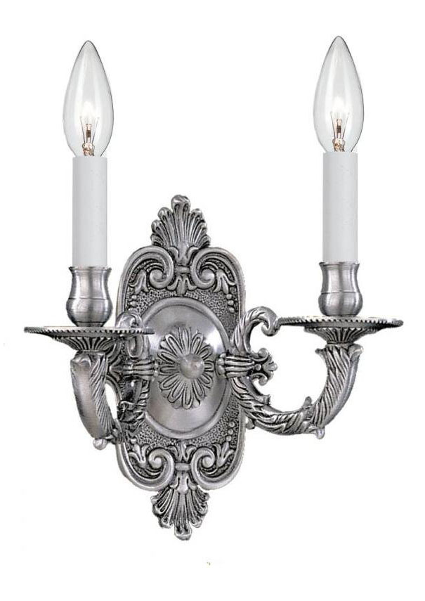 Crystorama Pewter Arlington 2 Light Candle Style Double Wall Sconce Pewter 642-PW From Arlington ...