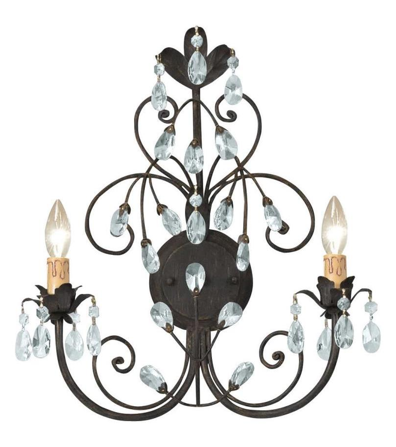 Double Candle Wall Sconces : Crystorama Dark Rust Victoria 2 Light Candle Style Double Wall Sconce Dark Rust 4922-DR From ...