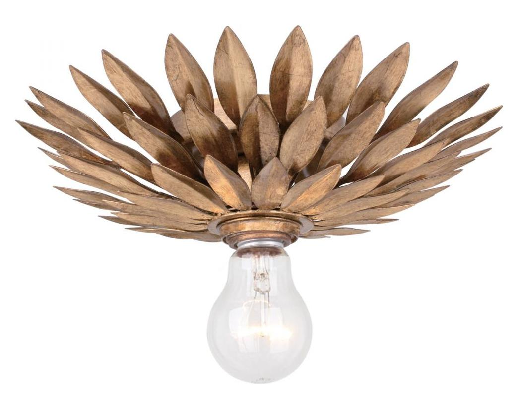 Crystorama Antique Gold Broche 1 Light Flush Mount Ceiling
