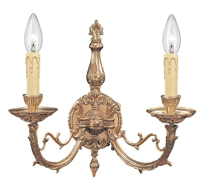 Double Candle Wall Sconces : Crystorama Olde Brass Etta 2 Light Candle Style Double Wall Sconce Olde Brass 482-OB From Etta ...