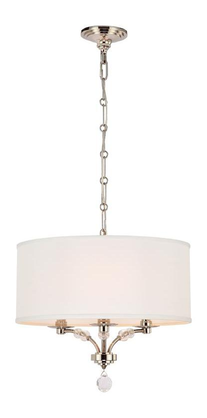 Crystorama Three Light Polished Nickel Drum Shade