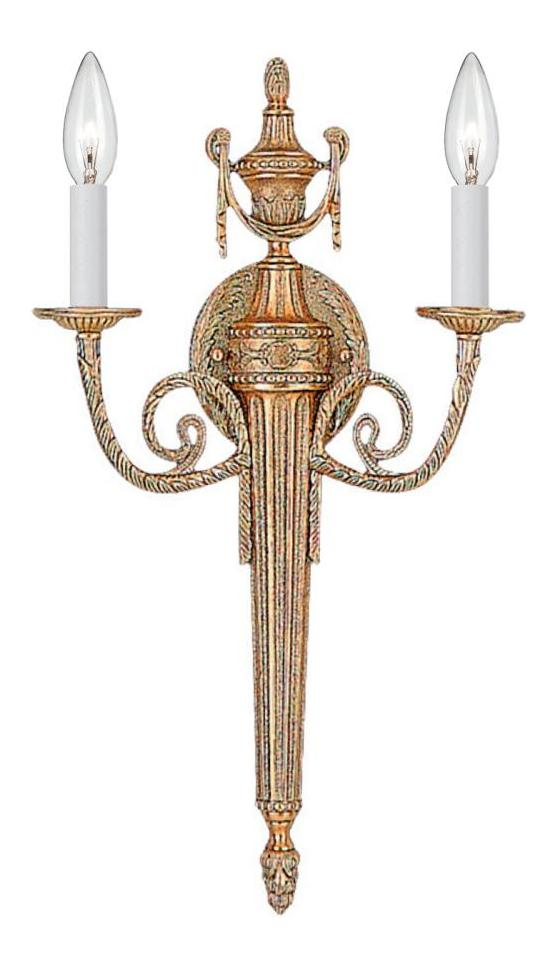 Double Candle Wall Sconces : Crystorama Matte Brass Arlington 2 Light Candle Style Double Wall Sconce Matte Brass 662-MB From ...