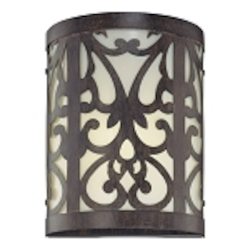 "Nanti Collection 1-Light 9"" Iron Oxide Wall Sconce with Etched Vanilla Glass 1490-357-PL"