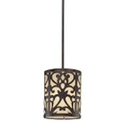 "Nanti Collection 1-Light 7"" Iron Oxide Mini Pendant with Etched Vanilla Glass 1491-357"