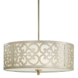 "Nanti Collection 3-Light 20"" Nanti Champagne Silver Chandelier with Etched Vanilla Glass 1494-252"
