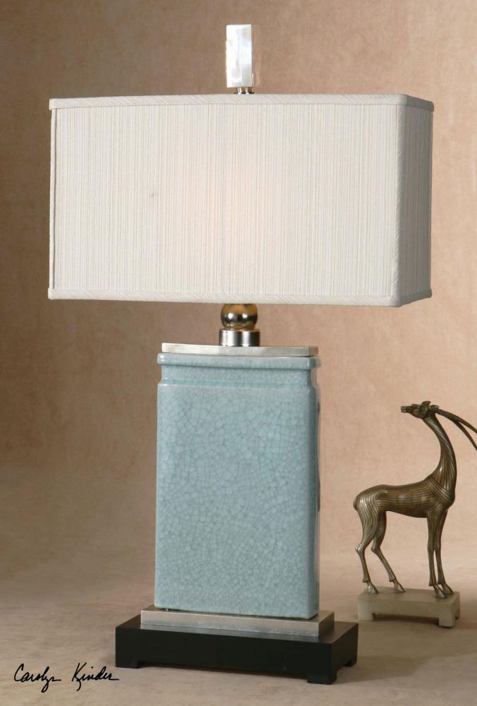 Uttermost Light Blue Crackled Porcelain With Nickel Plated