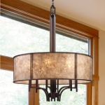 "Barringer Collection 6-Light 31"" Aged Bronze Pendant with Mica Shade 15034/6"