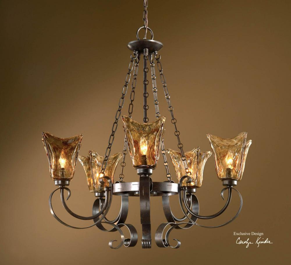 Uttermost 5 Light Single Tier Chandelier With Handmade