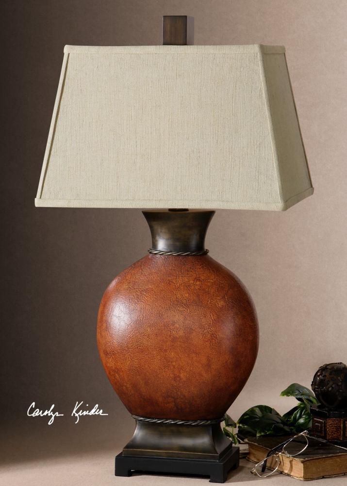 Uttermost Rustic Single Light Round Ceramic Table Lamp