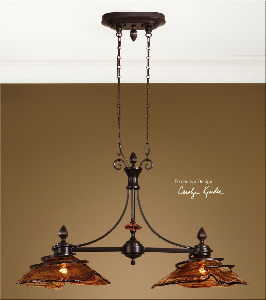 Kitchen Lighting Fixture Sets: Uttermost Oil Rubbed Bronze 2 Light Kitchen Island Fixture