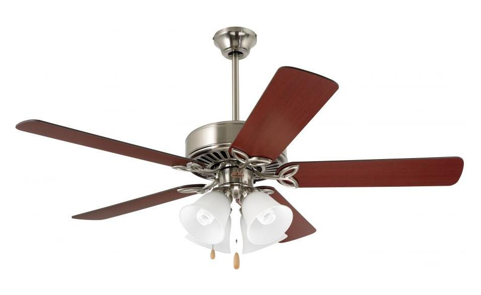 Emerson Fans Four Light Brushed Steel Ceiling Fan Brushed