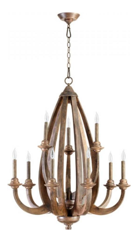 Quorum Nine Light Early American Up Chandelier Early
