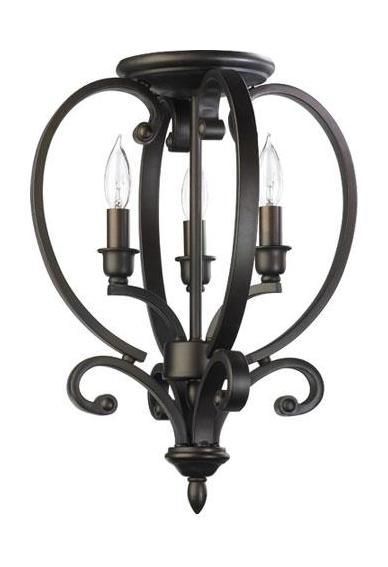 Foyer Lighting Fixtures Flush Mount : Quorum three light oiled bronze foyer hall semi flush
