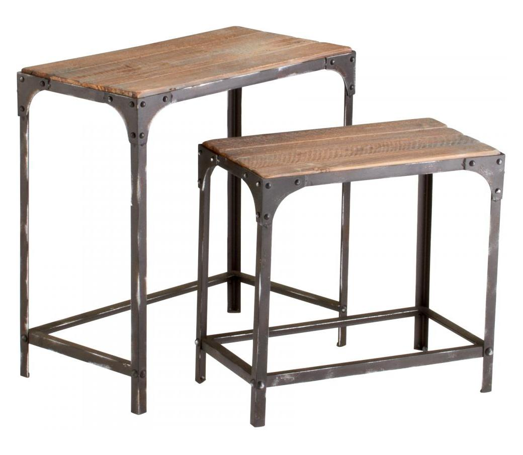 Cyan Designs Raw Iron And Natural Wood Winslow Nesting
