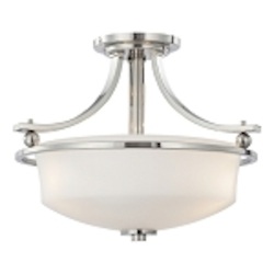 "Ameswood Collection 3-Light 16"" Polished Nickel Semi-Flush with Etched White Glass Shade 1622-613"
