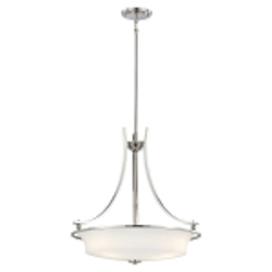 "Ameswood Collection 3-Light 23"" Polished Nickel Pendant with Etched Opal Glass Shade 1623-613"