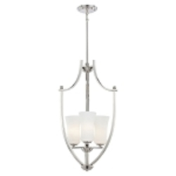 "Ameswood Collection 3-Light 29"" Polished Nickel Foyer Pendant with Etched Opal Glass Shade 1624-613"