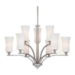 "Ameswood Collection 9-Light 32"" Polished Nickel Chandelier with Etched Opal Glass Shade 1629-613"