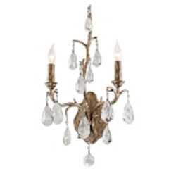 "Amadeus Collection 2-Light 11"" Vienna Bronze Wall Sconce with Italian Glass Drops 163-12"