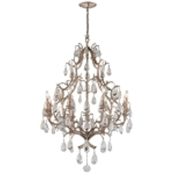 "Amadeus Collection 8-Light 36"" Vienna Bronze Chandelier with Italian Glass Drops 163-08"