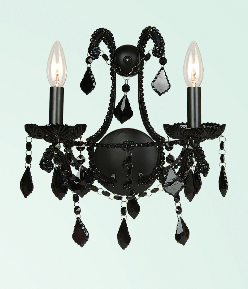 Black Crystal Wall Sconces : Bethel 2 Light Black Crystal & Frame Wall Sconce ET08BLK