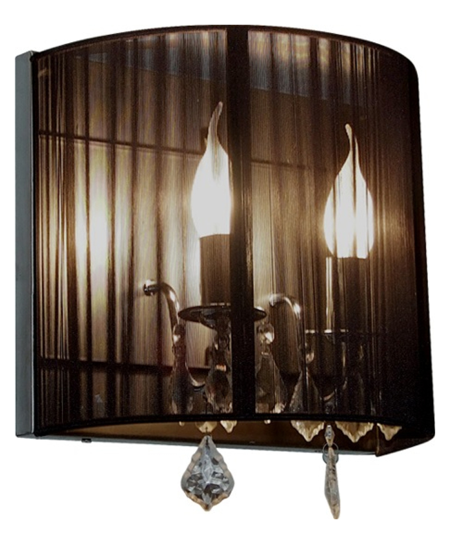 Artcraft Two Light Polished Nickel Silk String Shade Wall Light AC387BK From Claremont Collection