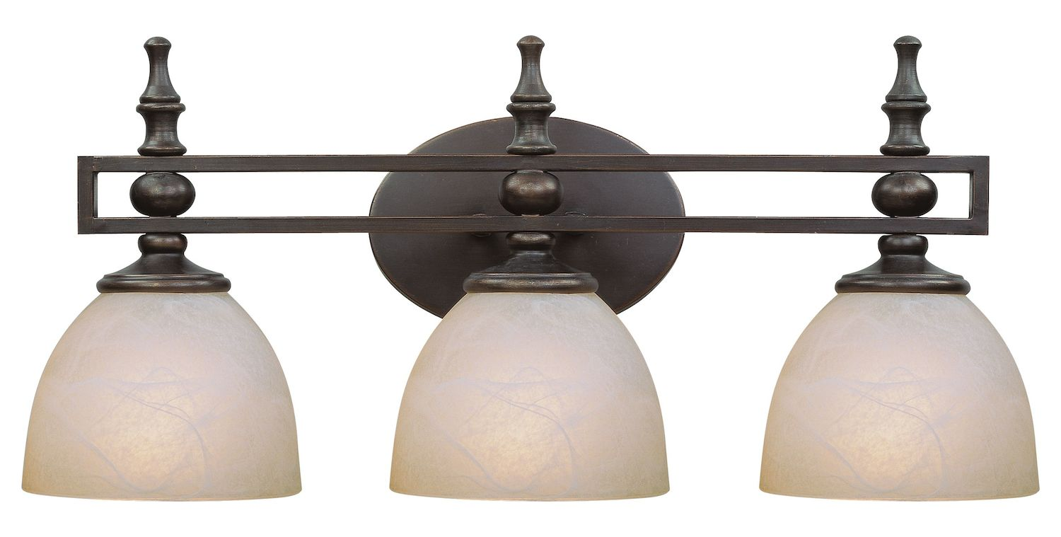 Classic Dome Shade 3 Socket Vanity Light: Craftmade Three Light Old Bronze Faux Alabaster Shade
