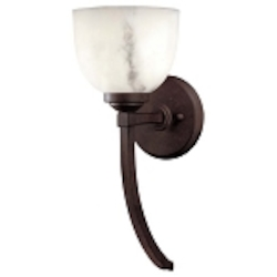 "Calavera Collection 1-Light 15"" Nutmeg Wall Sconce with Alabaster Dust Shades 1680-14"