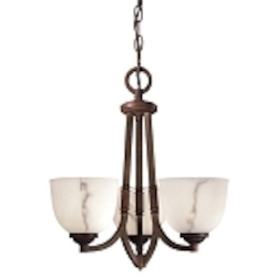 "Calavera Collection 3-Light 17"" Nutmeg Mini Chandelier with Alabaster Dust Shades 1683-14"