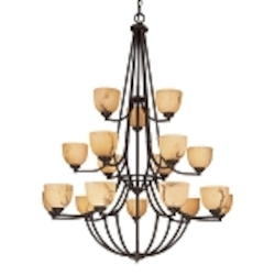 "Calavera Collection 18-Light 55"" Nutmeg Chandelier with Alabaster Dust Shades 1689-14"