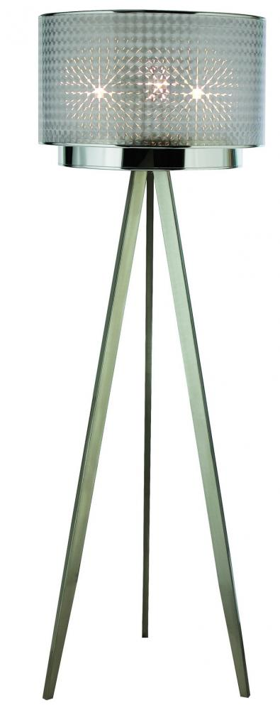 Trend lighting three light brushed nickel checkered prism for 3 tier floor lamp