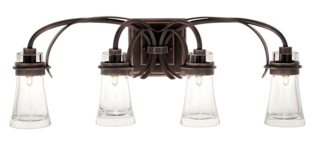 Talista 4 Light Antique Bronze Bath Vanity Light With: Kalco Antique Copper Dover 4 Light Reversible Vanity Light