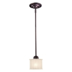 "1730 Series Collection 1-Light 6"" Lathan Bronze Mini Pendant with Etched Glass-Box Pleat 1731-167"