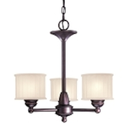 "1730 Series Collection 3-Light 19"" Lathan Bronze Mini Chandelier with Etched Glass-Box Pleat 1733-167"