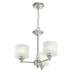 "1730 Series Collection 3-Light 19"" Polished Nickel Mini Chandelier with Etched Glass Shade 1733-613"