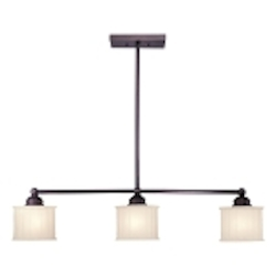 "1730 Series Collection 3-Light 52"" Lathan Bronze Island Light with Etched Glass-Box Pleat 1734-167"