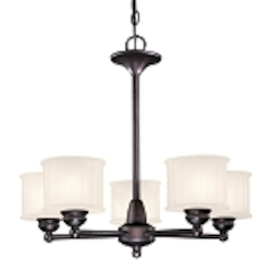 "1730 Series Collection 5-Light 24"" Lathan Bronze Chandelier with Etched Glass-Box Pleat 1735-167"