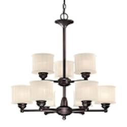 "1730 Series Collection 9-Light 27"" Lathan Bronze Chandelier with Etched Glass-Box Pleat 1739-167"