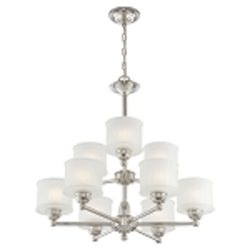 "1730 Series Collection 9-Light 27"" Polished Nickel Chandelier with Etched Glass Shade 1739-613"
