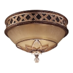 "Aston Court Collection 2-Light 13"" Bronze Flush Mount with Avorio Mezzo Glass 1755-206"